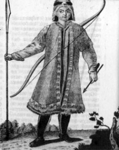 Якутский охотник в кафтане-комзоле, гравюра